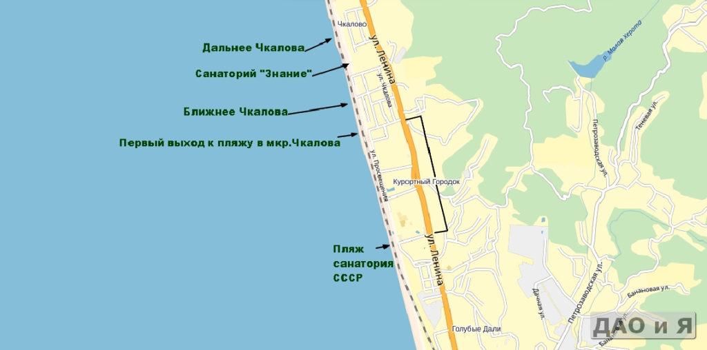 Курортный район и микрорайон Чквалова на карте