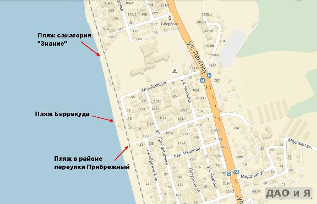 Пляжи Прибрежный и Барракуда на карте