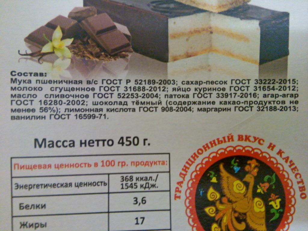 Состав торта