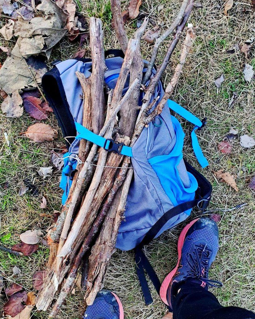 Упавшие ветки в рюкзаке